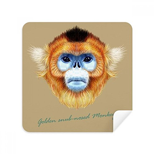 Golden Snub-nosed Monkey Animal Glasses Cleaning Cloth Phone Screen Cleaner Suede Fabric 2pcs