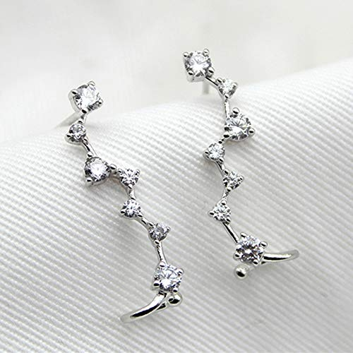 MSECVOI 925 Sterling Silver Ear Crawler - Cuff Earrings Cubic Zirconia Ear Climber Earrings for Women