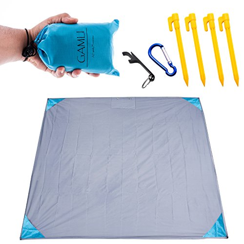 Pocket Blanket for Beach Festival - Camping Hiking Compact Size 55'x60' Fit 4 People Sand and Waterproof Puncture Resistance with Corner Pocket, Loops, 4 Stakes, Double Zipper Secure Pocket (Blue) by GAMLI A Family Business