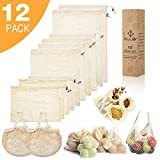 Reusable Produce Bags - HJJS Organic Cotton Mesh Bags for Shopping and Storage - Biodegradable and Eco-Friendly - Machine Washable (Organic Cotton, 12-pack)