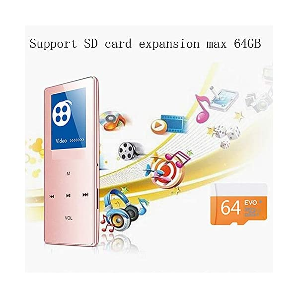 8G Bluetooth Mp3 Player 1.8 Inch Motion Capacitive Touch Mp4hifi Lossless Sound Quality Video Playback Pedometer Pink,Black 4