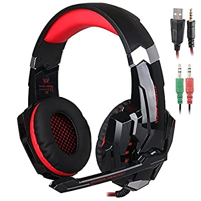 KOTION EACH Gaming Headset 3.5mm jack with LED Backlit and Mic Stereo Bass Noise Cancelling for Computer Game Player by SENHAI