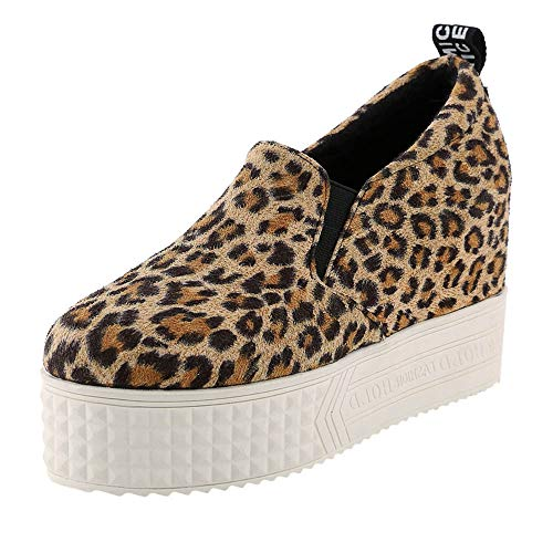 (Wedges Ankle Booties | Inkach Casual Womens Leopard Print Flat Fashion Sneakers | Round Toe Thick Soft Bottom Platform Slip On Shoes (US:8/CN:40, Yellow))