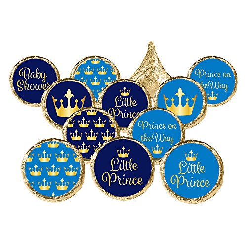 DISTINCTIVS Little Prince Royal Baby Shower Favor Stickers, 324 Count