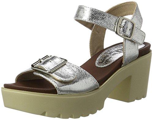 XTI Silver Metallic Ladies Sandals, Sandalias de Tacón para Mujer Plateado (Silver)