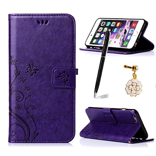 iphone 6 Plus/6S Plus Case,Qidreamcase [Kickstand][Card Slot][Flip][Slim Fit][Flower+Butterfly Pattern] - PU Leather Wallet Case for iphone 6 Plus/6S Plus - That Take Debit Stores Online