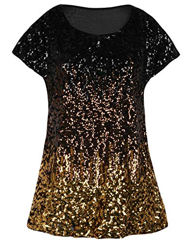 PrettyGuide Women's Evening Tops Sparkle Shimmer Glam Sequin Blouse Black/Coffee/Gold XL/US18-20 -