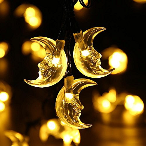 LuckLED Original Moon Solar String Lights, 20ft 30 LED Christmas Lights with Light Sensor for Outdoor, Gardens, Homes, Wedding, Christmas Party and Holiday Decor(Warm White)