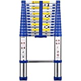 Ollieroo® 13.5ft EN131 Aluminum Telescopic Extension Ladder with Spring loaded Locking Mechanism Non-Slip Ribbing, 330LB Capacity Blue