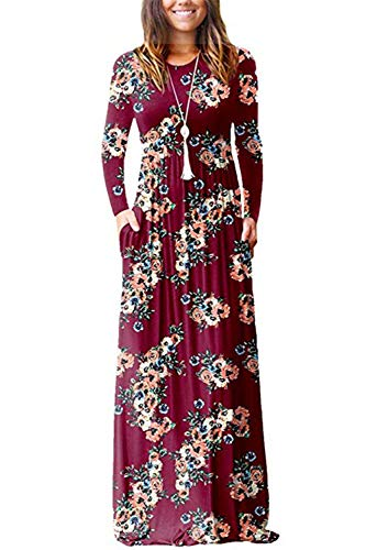 (PALINDA Women's Floral Printed Long Sleeve Empire Waist Maxi Dresses with Pockets (L, Wine Red))