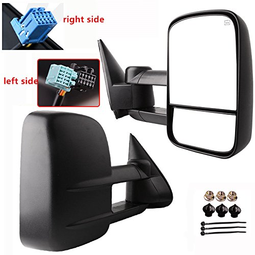 (A Pair of Black Housing Towing Mirrors Fit for 2003-2006 Chevy Tahoe - Power Adjustment + Heated + No Turn Signal Lights + Dual Glass)