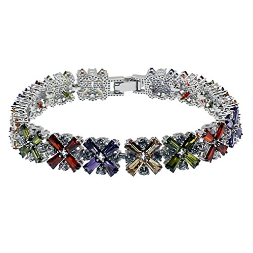 HERMOSA Fashion Jewelry Tennis Bracelet Garnet Emerald Amethyst Morganite Peridot White Topaz Plated Silver Bracelets 7 inch (Multi - Plated Gemstones Silver Multi