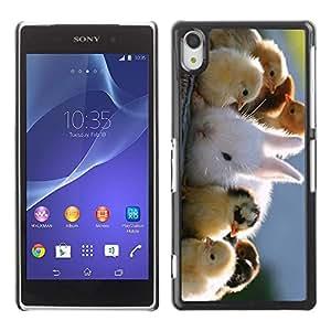 Caucho caso de Shell duro de la cubierta de accesorios de protección BY RAYDREAMMM - Sony Xperia Z2 D6502 D6503 D6543 L50t L50u - Cute Chicks & Rabbit