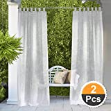 RYB HOME Outdoor Sheer Curtains - Outdoor Deck Linen Look Semitransparent Sheer, Quick Dry Indoor Outdoor Drapes for Gazebo/Patio/Balcony, Ropes Included, Wide 54 by Long 84, 2 Panels: more info
