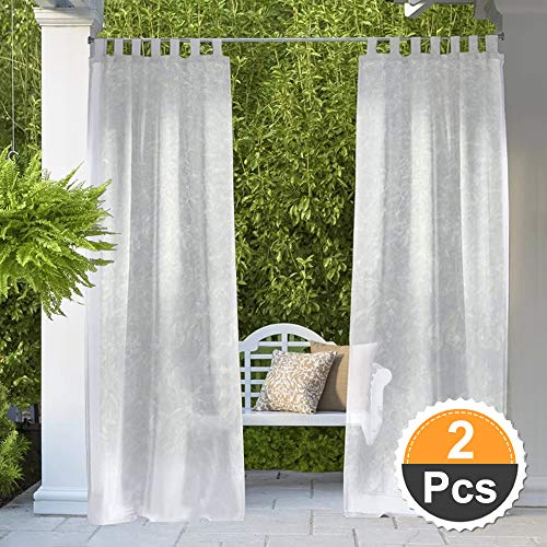 RYB HOME Outdoor Sheer Curtains - Outdoor Deck Linen Look Semitransparent Sheer, Quick Dry Indoor Outdoor Drapes for Gazebo/Patio/Balcony, Bonus Ropes Included, Wide 54