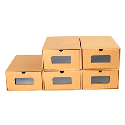 fuluomei FLM Cajas de Almacenaje Plegable - Pack de 5 Cajas de Zapatos Transparente Apilable para