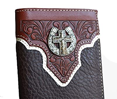 Stony west cross horseshoe concho tooled long men men's bifold leather wallet