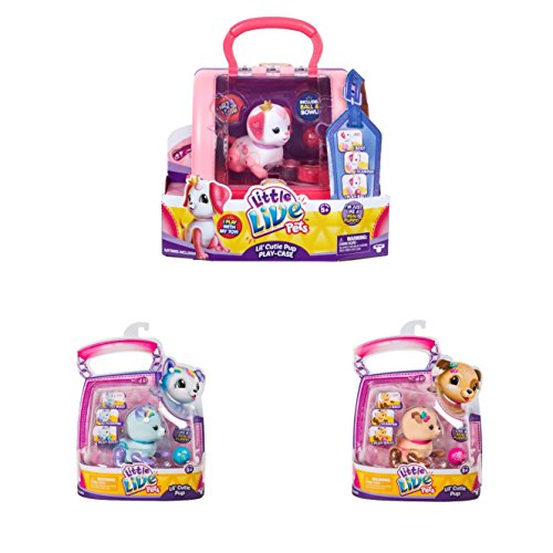 Little Live Pets Lil' Cutie Pup Play-Case with Ruby, Small Puppy Single Pack-Sprinky and Starbow Bundle