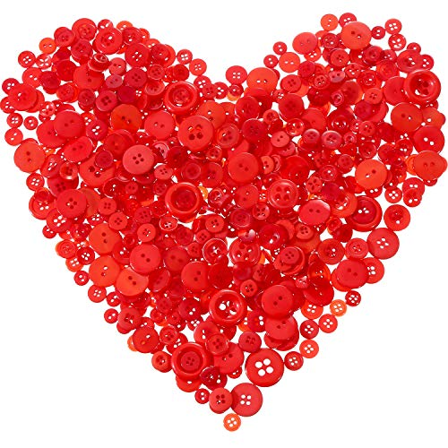 Tatuo 1000 Pieces Valentines Buttons Round Craft Resin Buttons for Crafts Sewing Valentines Day Decorations, 2 Holes and 4 Holes (Red)