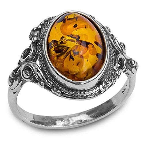 Amber Sterling Silver Oval Filigree -