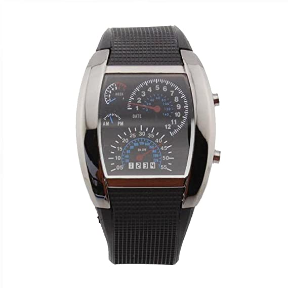 Electronic4sale RPM Turbo Flash LED reloj coche medidor Dial reloj de pulsera hombre, color negro: Amazon.es: Relojes