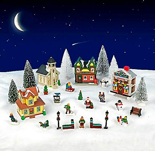 Cobblestone Corners 2019 Christmas Village Collection - The Entire Collection in one Box - 28 Pieces Total (Village Pieces)