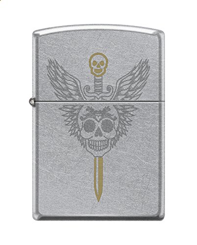 Zippo Custom Design Winged Skull w/Sword Reg Street Chrome Windproof Collectible Lighter. Made in USA Limited Edition & Rare