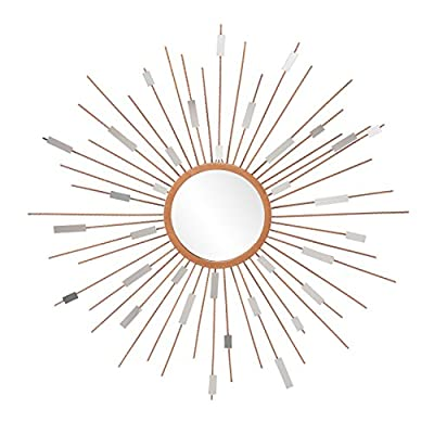 "Starburst Mirrored Wall Sculpture - Hanging Art Deco Wall Art - Sunburst Design - Sunburst composition casts geometric shadows Warm, metallic gold with Glam style Overall: 36"" DIA x 1.25"" D; Mirror surface: 8.75"" DIA; Mirror pieces: .75"" W x .25"" D x 1.25-3.25"" H; Materials: metal and mirror; Approx. weight: 14 lb. - bathroom-mirrors, bathroom-accessories, bathroom - 51UMZpNb 7L. SS400  -"