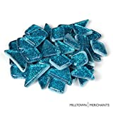 Milltown Merchants™ Mermaid Blue Glitter Mosaic Tile Pieces - Bulk Aqua Sparkle Mosaic Tiles - 1 Pound (16 oz) Shimmer Tile Assortment For Backsplash, Murals, Stepping Stones, and Mosaics