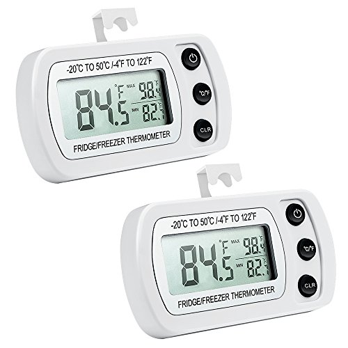 ORIA Digital Refrigerator Thermometer, Mini Freezer Thermometer, Refrigerator Freezer Waterproof, LCD Display, ℃/℉ Switch + Max/Min Record, for Kitchen, Home, Restaurants (2 Pack, Battery Included) by ORIA