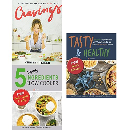 cravings chrissy teigen, 5 simple ingredients slow cooker and tasty & healthy 3 books collection set