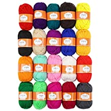 Soledi Pack of 20 Skeins Acrylic Yarn Perfect for Crochet and Knitting Project Bonbons Yarn Rainbow Colors