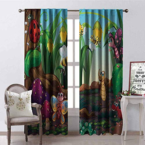 GloriaJohnson Animal 99% Blackout Curtains Ladybug Butterfly Bee in Exotic Garden Botany Cute Kids Nursery Themed Cartoon Art for Bedroom Kindergarten Living Room W52 x L95 Inch Multicolor