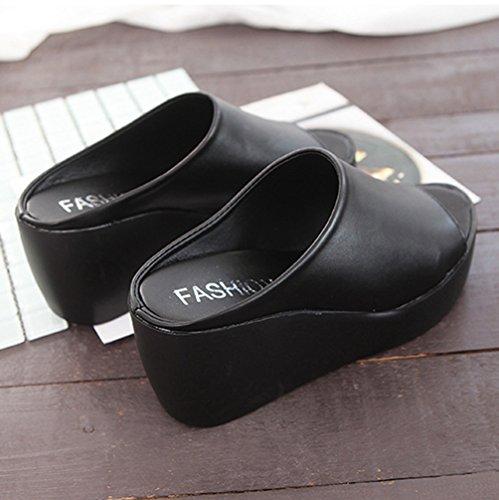 Noir Sandale Sandales Bout Chaussure Plateforme Plage Hauts Compensés JITIAN Tongs Ouvert de Talons Femme H1v6OTqw
