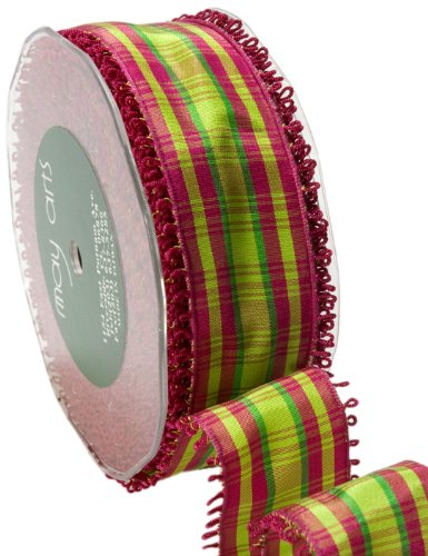 May Arts 1-1/2-Inch Wide Ribbon, Violet and Parrot Green Plaid