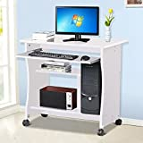Popamazing Wood Small Computer Desk Trolley Cart PC Laptop Workstation with Sliding Keyboard Tray and Storage Shelves on Wheels White