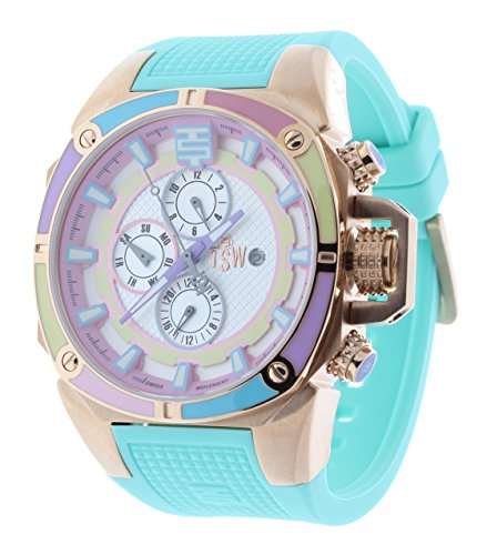 Technosport TS-100-1M 44mm Women's Swiss Multifunction Watch Mint Silicone Strap GMT Multicolor Dial