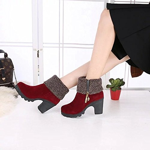 Ankle Red Chunky Toe Leatherette for Fashion ZHZNVX Dress Round Spring Shoes Red Boots Winter Booties Toe Casual Boots HSXZ Boots Women's Heel Closed qqwzf1a