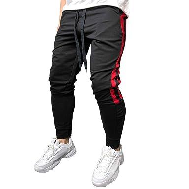 PARVAL Hombre Pantalones de chándal a Rayas Hip Hop Cargo Joggers ...