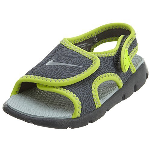 (Nike Boy's Sunray Adjust 4 (TD) Toddler Sandal (7 Toddler M, DARK GREY/WOLF GREY-VOLT))