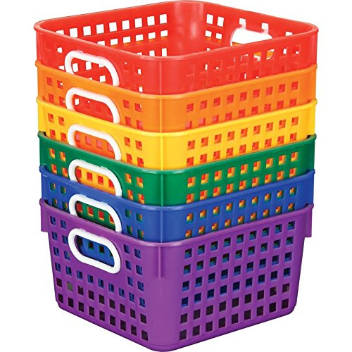 Really Good Stuff, Square Book Baskets, Set of 6, Red, Orange, Yellow, Green, Blue, Purple, Organize Books and More with Large Baskets, Durable, Plastic and Mesh, Easy to Clean, Stackable -