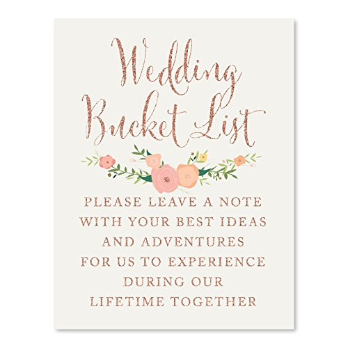 Andaz Press Wedding Party Signs, Faux Rose Gold Glitter with Florals, 8.5x11-inch, Wedding Bucket List, Please Leave a Note with Your Best Ideas and Adventures, 1-Pack, Colored Decorations