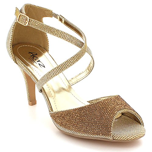 Gold High Party Heel Diamante Crystal Prom Evening Shoes LONDON Sandals Ladies Womens Sparkly Size Wedding AARZ Bridal waPpUn