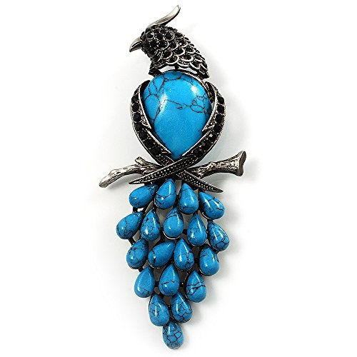 tone & Black Crystal Bird Brooch (Antique Silver) ()