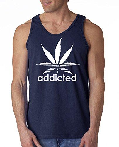 12.99 Prime Tees Men's Addicted Weed Stoners Tank Top Medium Navy Blue