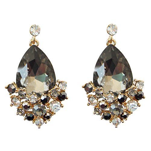 Navachi 18k Gold Plated Crystal Gray Pear-shaped Zirconia Az1699d Drop Dangle Earrings
