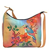 Anuschka Handpainted Leather Large Hobo, Bird on Branch