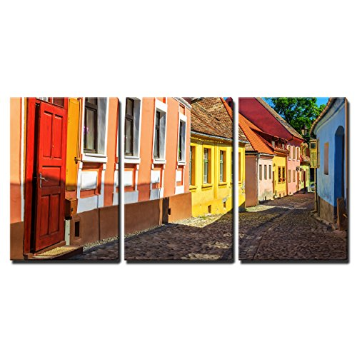 "Wall26 - 3 Piece Canvas Wall Art - Stone Paved Old Streets with Colorful Houses in Sighisoara - Modern Home Decor Stretched and Framed Ready to Hang - 16""x24\""x3 Panels"