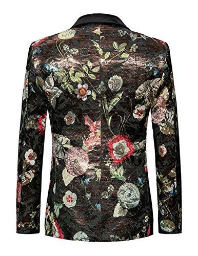 Colorata Fit Immagine Colore Stampato Casual 2 Floreale moda Sportiva Vestito Yffushi Mens Slim Giacca Giacca Di Stile 8AUtcq