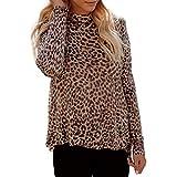 Anshinto Women Long Sleeve Turtleneck Loose Blouse Casual Tops (Medium, Brown)